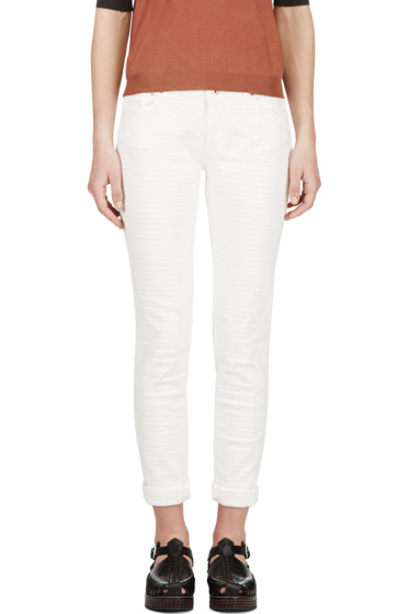 Avelon - Ivory Painted Stripe Neon Jeans