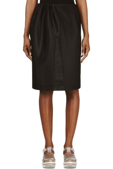 Simone Rocha - Black Side Gathered Neoprene Skirt