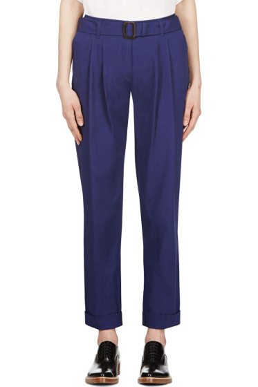 Veronique Branquinho - Navy Blue Belted Cotton Trousers
