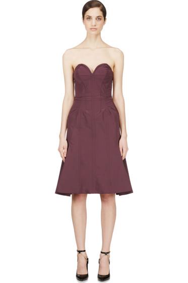 Nina Ricci - Purple Satin Compact Bustier Dress