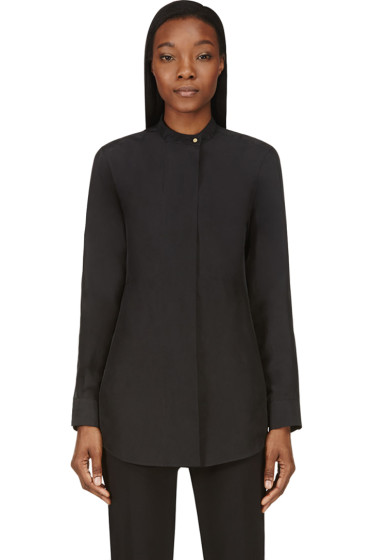 Calvin Klein Collection - Black Washed Silk Umiko Blouse
