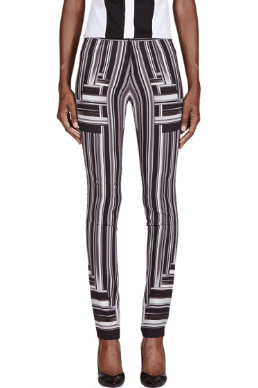 Peter Pilotto - Black & White Stripe Skinny Trousers