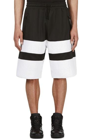 En Noir - Black & White Ribbed Shorts