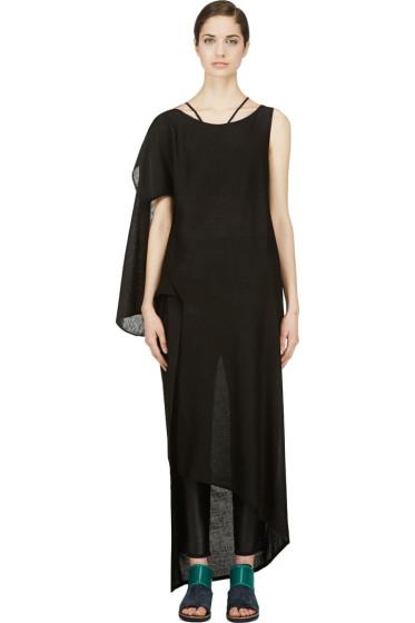 Yohji Yamamoto - Black Asymmetric Drape Dress