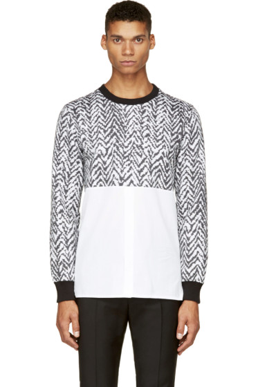 Krisvanassche - SSENSE Exclusive Black & White Chevron Hybrid Shirt