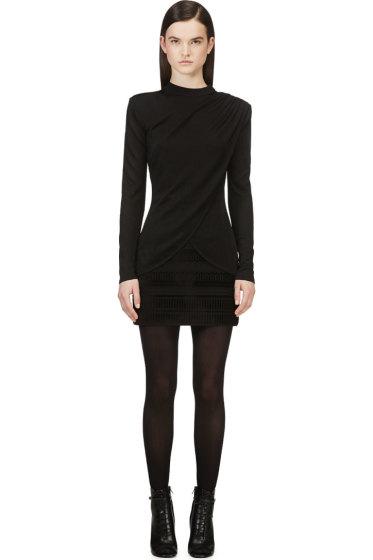 Balmain - Black Drape Front Knit Sweater