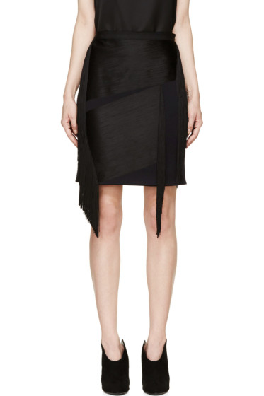 Lanvin - Ink Blue Wool Fringed Mini Skirt