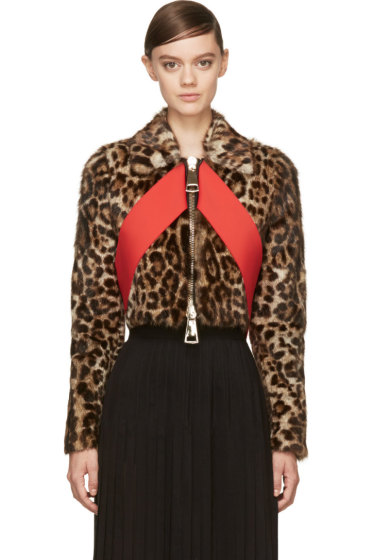 Givenchy - Leopard Print Red Sash Cropped Biker Jacket