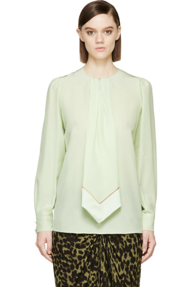Givenchy - Pear Green Silk Pleated Tie Blouse