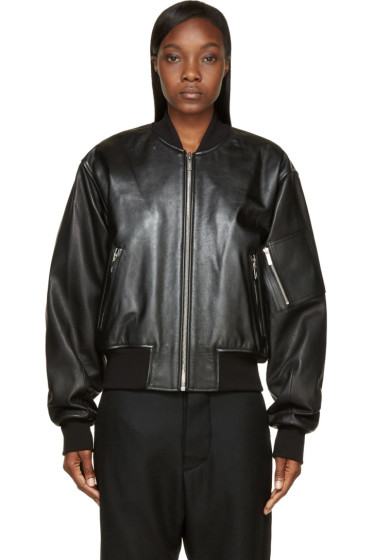Juun.J - Black Leather Sign Society Bomber Jacket