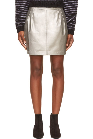 BLK DNM - Silver Leather Mini Skirt