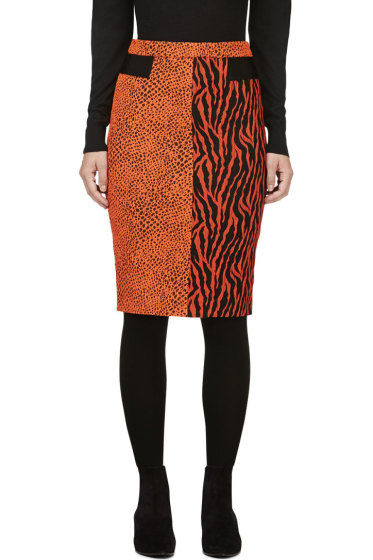 Avelon - Red-Orange Animal Print Jacquard Skirt
