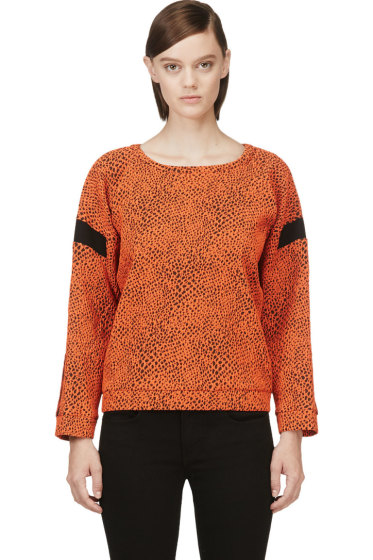 Avelon - Orange Animal Textured Sweater