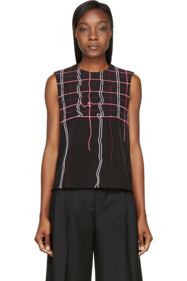 Kenzo - Black Neon Degraded Plaid Embroidered Top