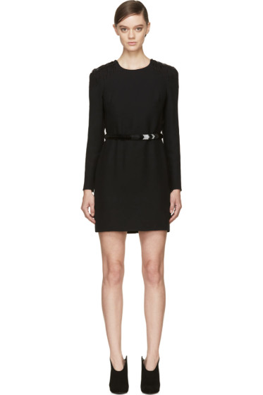 Versace - Black Beaded Epaulet Cocktail Dress