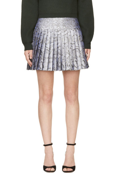 Mary Katrantzou - Silver Jacquard Cookie Print Pleated Skirt
