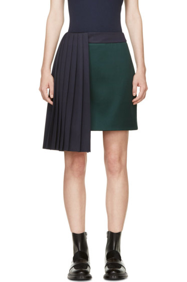 Mary Katrantzou - Evergreen & Navy Pleat Jumbar Skirt