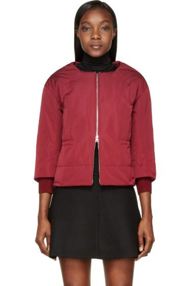 Nina Ricci - Burgundy Insulated Cropped Sleeve Jacket