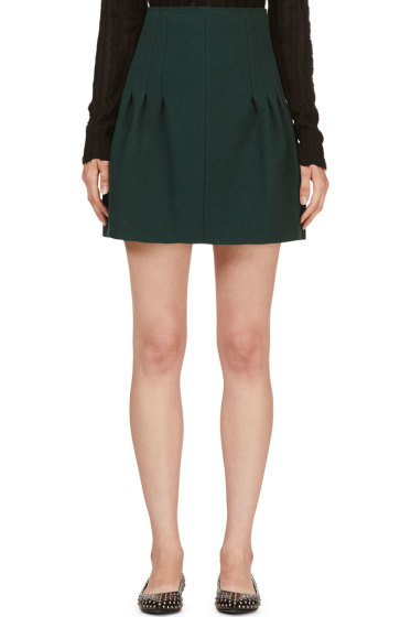 Nina Ricci - Green Silk-Bonded Wool Skirt