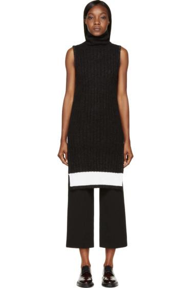 Calvin Klein Collection - Black & White Ribbed Knit Arto Turtleneck