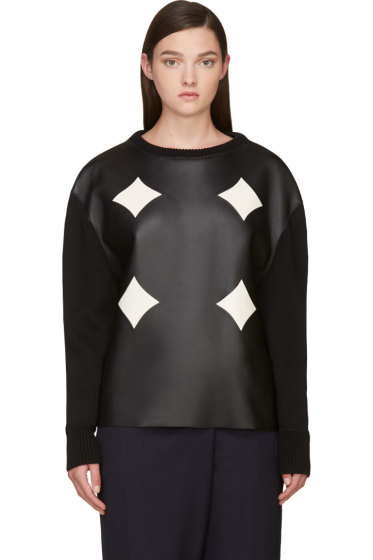 Costume National - Black Leather Panel Sweater
