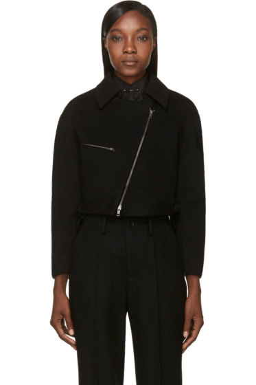 Maiyet - Black Wool Cropped Bomber Jacket