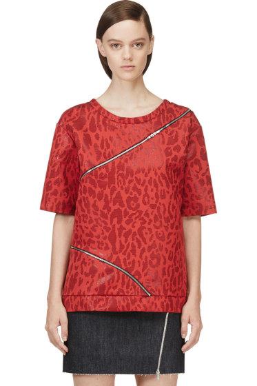 Jay Ahr - Red Jacquard Leopard Zip-Trimmed T-Shirt
