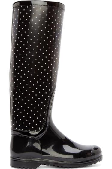 Dolce & Gabbana - Black & White Polka Dot Rain Boots