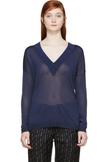 Rag & Bone - Navy Sheer Yvette V-Neck Sweater
