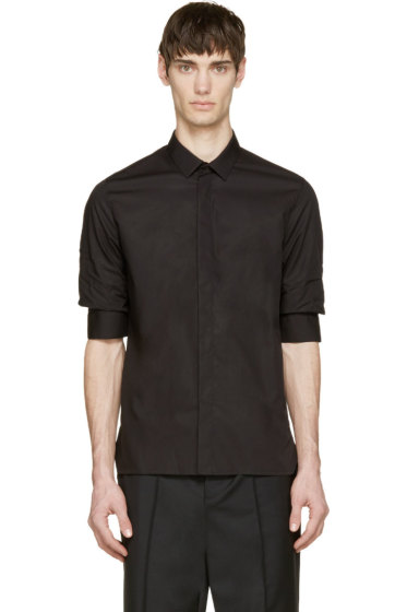 Krisvanassche - Black Gathered Sleeve Shirt