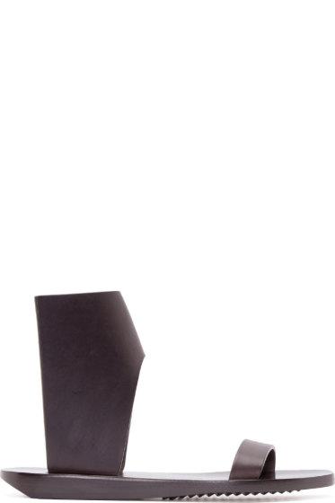 Rick Owens - Dark Brown Structured Leather Sandals