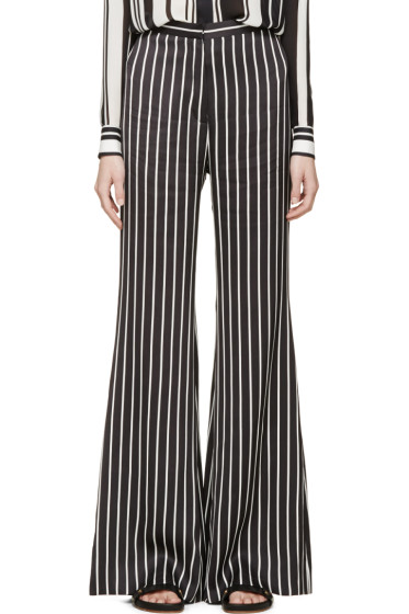 Balmain - Black & White Striped Flared Trousers