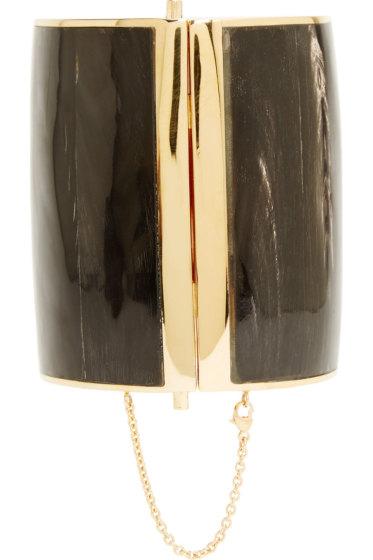 Balmain - Black Inset Horn Cuff