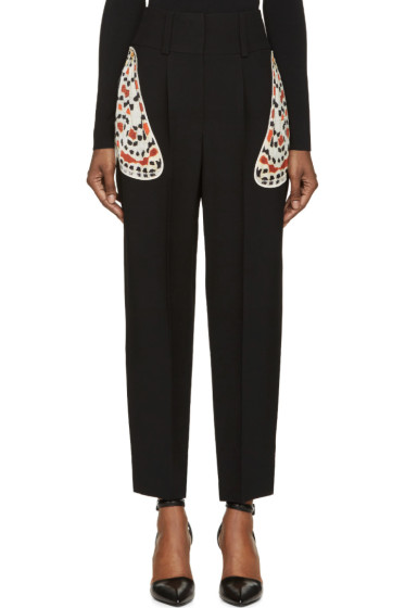 Givenchy - Black Crêpe Moth Wing Appliqué Trousers