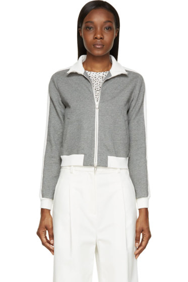 3.1 Phillip Lim - Grey & White French Terry Trapunto Sweater