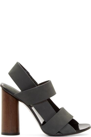 Proenza Schouler - Grey Suede Slingback Sandals