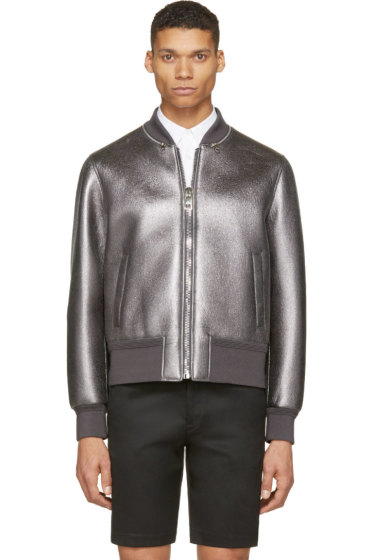Neil Barrett - Gunmetal Metalllic Leather Bomber Jacket