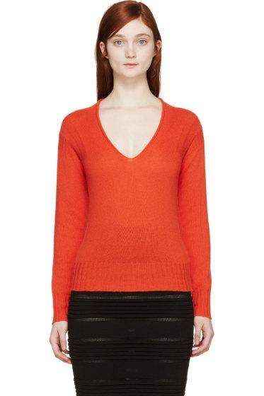 Burberry Prorsum - Orange Cashmere V-Neck Sweater