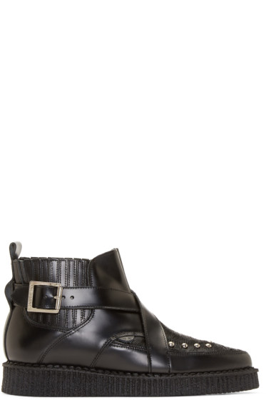 Underground - Black Leather & Calf-Hair Creeper Boots