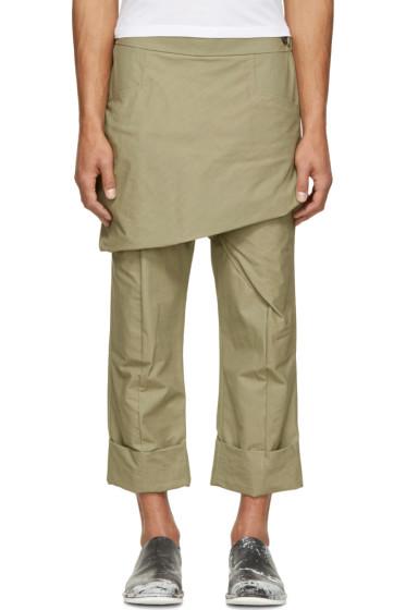 Thamanyah - Green Waxed Skirt Trousers