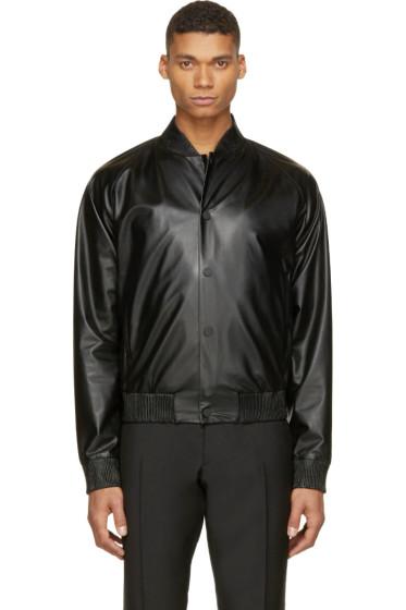 Calvin Klein Collection - Black Leather Bomber Jacket