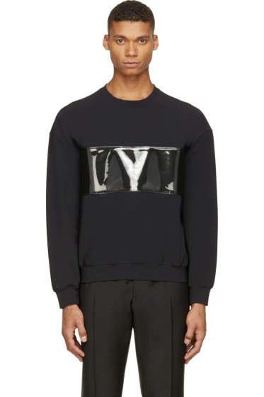 Calvin Klein Collection - Black PVC Band Crewneck Sweatshirt