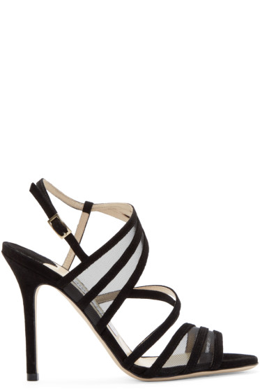 Jimmy Choo - Black Suede & Mesh Visby Sandals
