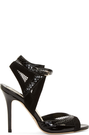 Brian Atwood - Black Snakeskin & Mesh Iara Heels