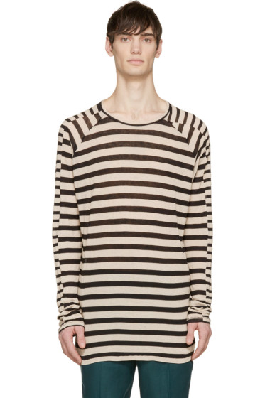 Haider Ackermann - Black & Ecru Striped Ribbed Long Sleeve Shirt