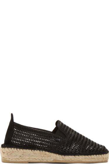 Prism - Black Leather Mesh Marroca Espadrilles