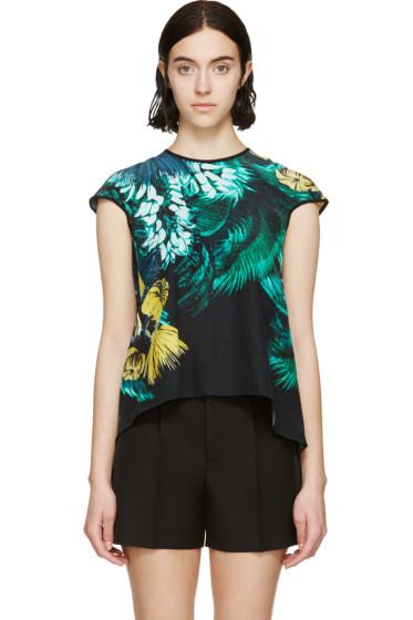 Erdem - Green Silk Arue Jungle Top