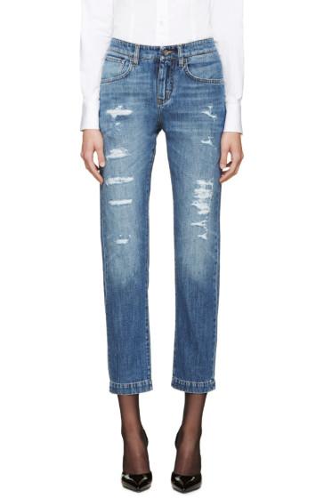 Dolce & Gabbana - Blue Ripped Boyfriend Jeans