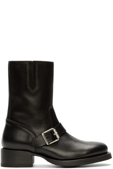 Dsquared2 - Black Leather Buckled Boots