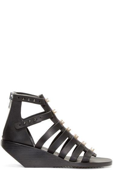 Rick Owens - Black Embellished Leather Cage Sandals